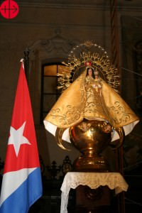 """Cuba, diocese of La Habanna September 2010 A replica of the """"Virgen de la Caridad of El Cobre""""  inside the Cathedral of La Habanna: The Virgen next to the flag of Cuba. Project trip of Maria Lozano Used as i *** Local Caption *** Internet 03/2012 used for Cuba/Camaguey 11/163, Package 50 Years Help for Latin America 18.09.2012"""