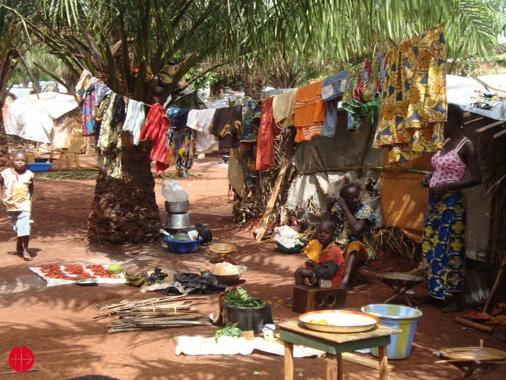 Central African Republic, Convent of the Carmelite Fathers at Bangui, refugees in front of their tent.
