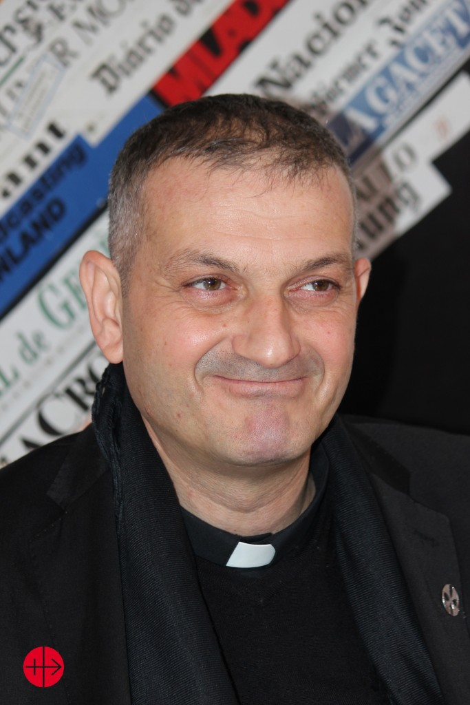 Father Mourad during the press conferece in Rome