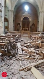 During a trip in Aleppo in May 2015, an ACN delegation saw the devastation of churches. The war in Syria is going on its 5th year these next days. (Credit: ACN-Melikte Archdiocese of Aleppo)