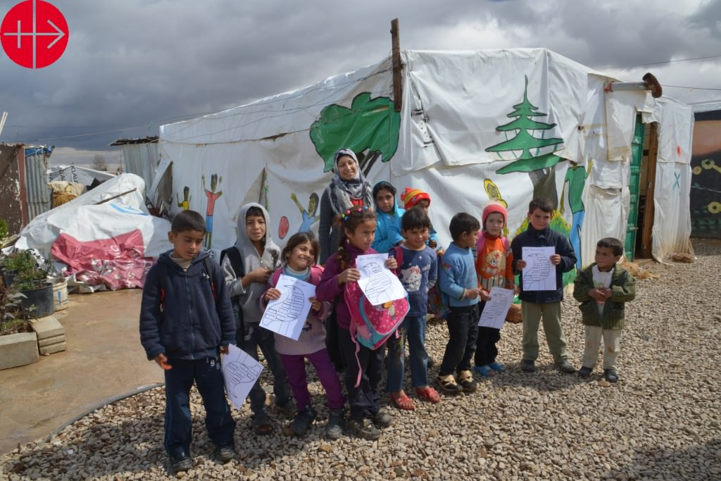 Lebanon Diocese of Zahle unofficial tent refugee camp at the out